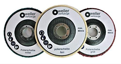 3x Profi Polierscheiben Set 125mm Polierrad passend für Winkelschleifer Akku Winkelschleifer Fein Mittel Grob