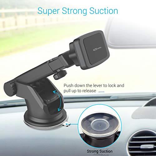 Portronics MoGun POR-1035 Universal Mobile Holder, Magnetic, 360 Degree Rotation, Car Dashboard or Windscreen, Any Smartphone, Black