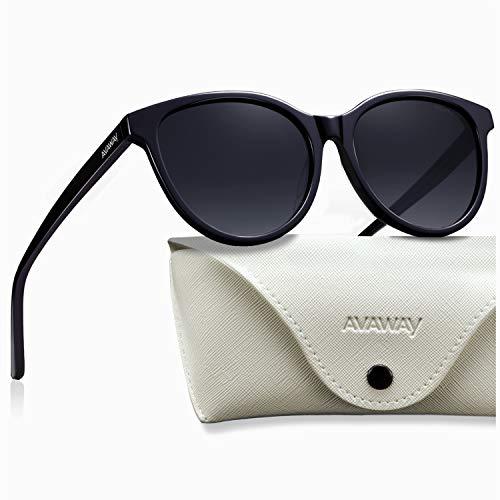 AVAWAY Retro Polarisierte Sonnenbrille Damen UV400 Fahrenbrille, Acetat Rahmen