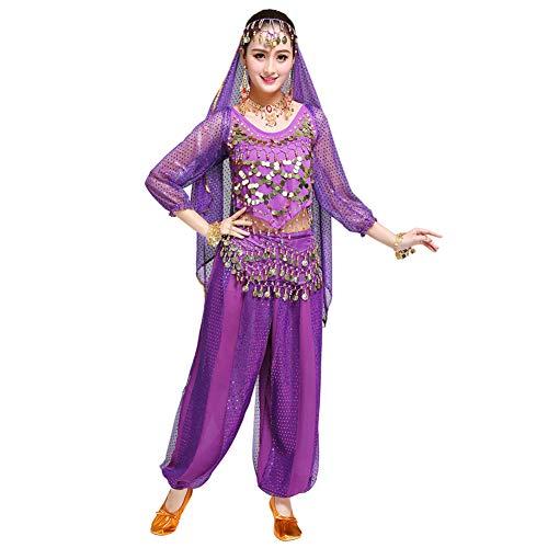 Xinvivion Femmes Professionnel Danse du Ventre Costume Bollywood Indien Arabe Dansant Performance Outfits Suit (Violet,Fit 70-100 KG)