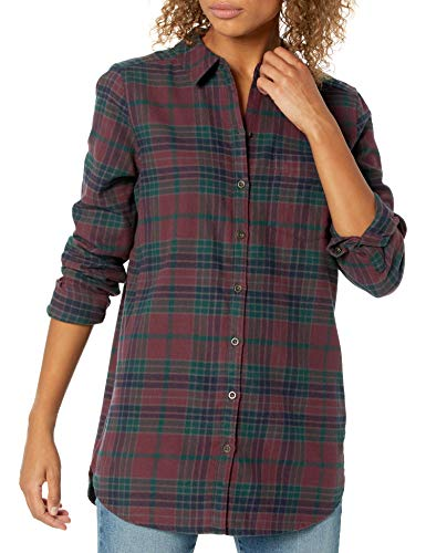 Goodthreads Brushed Flannel Boyfriend Tunic button-down-shirts, Burgundy/Deep Emerald Grid Plaid, US M (EU M - L)