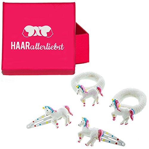 HAARallerliebst Haarschmuck Set (4 teilig | Einhörner | Glitzer Weiss) für Mädchen inkl. Schachtel zur Aufbewahrung (Schachtelfarbe: pink)