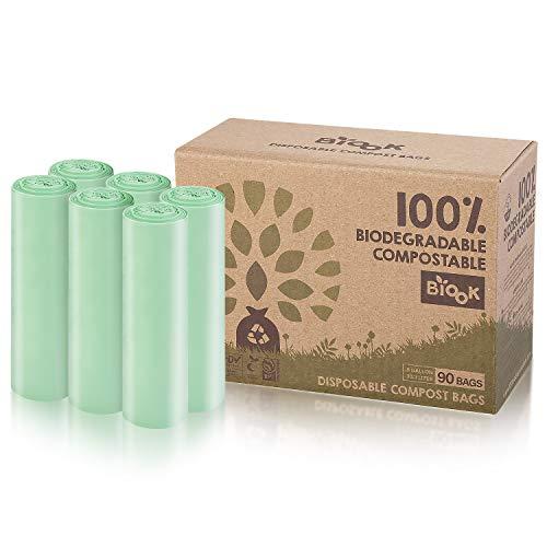 BIOOK Bolsas de basura 100% Compostables, 30L, 90 Bolsas, 25μm, PLA + PBAT-Based Materials Biodegradable, Reciclaje, Fuerte, a prueba de fugas, BPI ASTM D6400 y EN13432 OK Compost Certificación