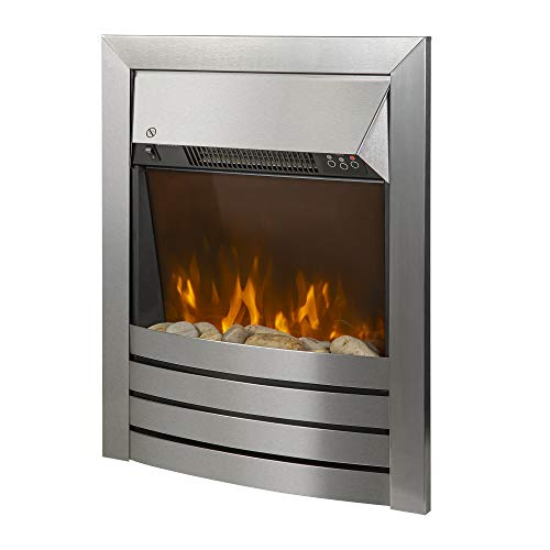 Zanussi ZEFIST1001SS Electric Inset Fire, 2000 W, Stainless Steel