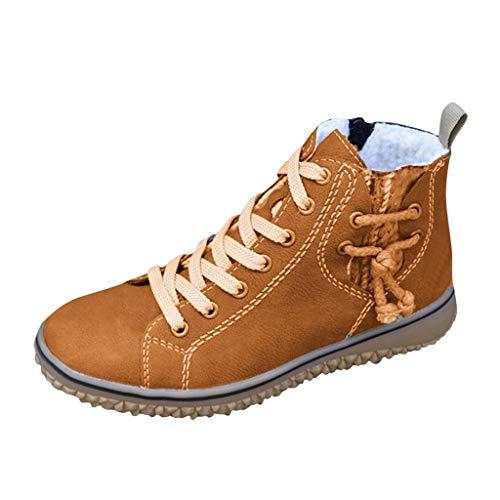 Yowablo stiefeletten chelsea boots winterstiefel stiefel schneestiefel damen schuhe biker boots damen Turnschuhe Frauen Warm Plus Size Casual Flache Schuhe Wedges Knöchel Kurze Stiefel (37,Braun)
