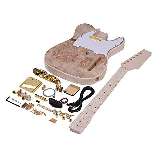 LOIKHGV Unvollendete E-Gitarre DIY Kit Basswood Body Wurzelholz Oberfläche Ahorn Holz Hals Griffbrett mit Single-Coil-Tonabnehmer, As Show