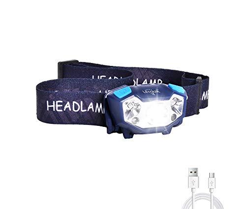 Lampada da Testa a LED LETOUR Torcia Frontale Ricaricabile USB, 350lm con Rilevamento dei Gesti e 5 modalità di Illuminazione, IP65 Impermeabile per Campeggio, Escursionismo, Corsa, Pesca
