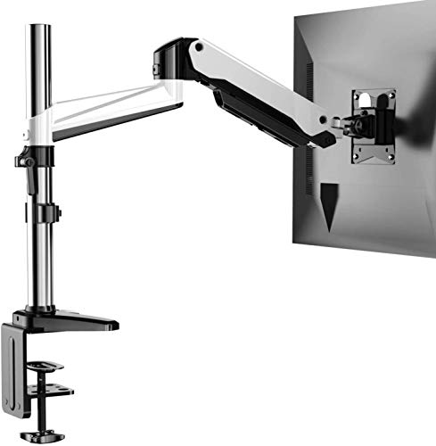HUANUO Monitor Stand  Premium Gas Spring Single Arm Monitor Desk Mount Fits 17 to 32 Inch Flat/Curved Computer Screens Height Adjustable Aluminum Vesa Bracket with C Clamp and Grommet Kit