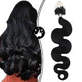 Moresoo Extension Cheveux a Froid Vrai Cheveux Body Wave 16 Pouces Extension Cheveux...