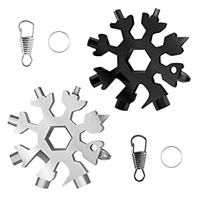 FENGWANGLI 2 Pack 18-in-1 Snowflake Multitool Portable for Men, Keychain Bottle Opener/Screwdriver/Wrench for Camping Travel Christmas Valentines Day Gift, Silver and Black