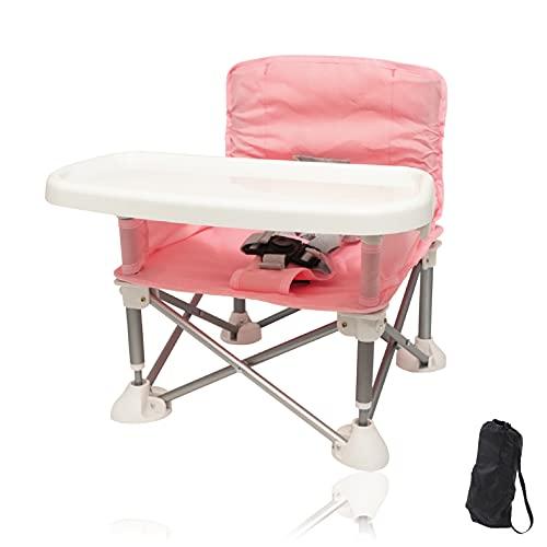 PITHECUS どこでも ベビーチェア テーブルチェア ローチェア 赤ちゃんチェア お食事チェア 折り畳みチェア キッズチェア 幼児用 安全ベルト付き 滑り止め (ピンク)