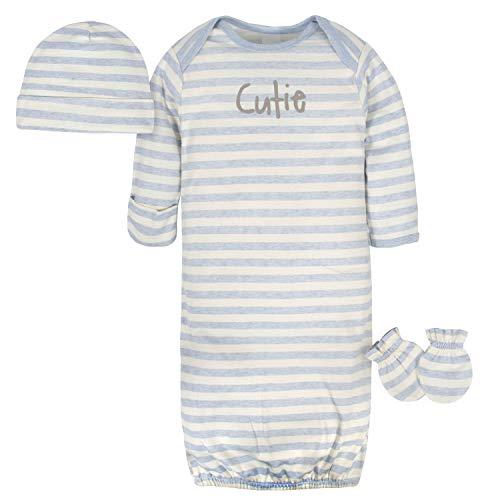 Gerber Baby Boys' Organic Gown, Cap and Mitten Set, Cutie Gray, 0-6 Months