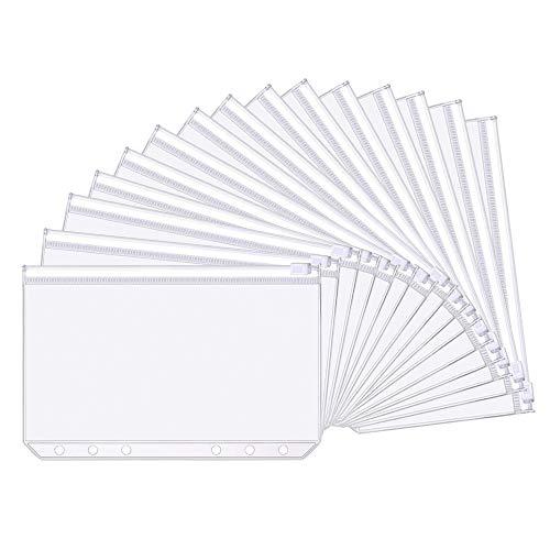 Gobesty Datei Dokument Taschen, 20 Stück A6 Kunststoff Binder 6 Löcher Reißverschluss Ordner Kunststoff für Haus Büro Schule Lieferungen