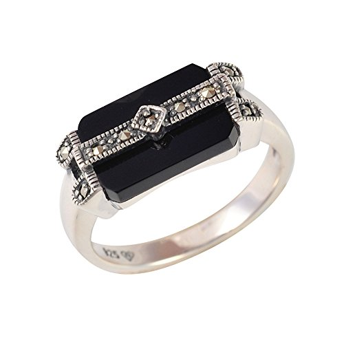 Esse Marcasite Sterling Silver Black Onyx and Marcasite Art Deco Ring - Size M