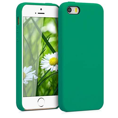 kwmobile Funda Compatible con Apple iPhone SE (1.Gen 2016) / 5 / 5S - Funda Carcasa de TPU para móvil - Cover Trasero en Verde Esmeralda
