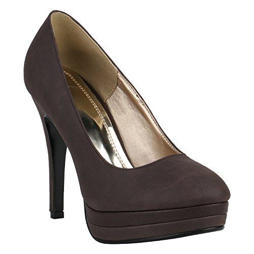 Damen Schuhe Peeptoes Pumps Plateau Stilettos High Heels Abendschuhe 157129 Braun 37 Flandell