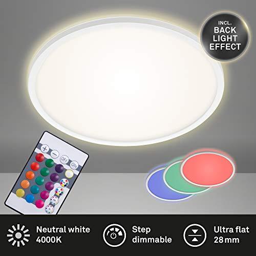 Briloner Leuchten - LED Panel, Deckenleuchte dimmbar, Deckenlampe, RGB, Farbsteuerung, Backlight, inkl. Fernbedienung, 22 Watt, 2.700 Lumen, 4.000 Kelvin, Weiß, Ø 42cm, 7094-416