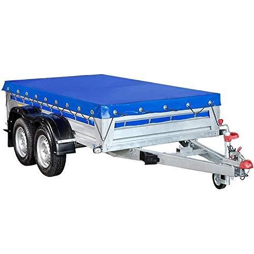 FIXKIT Anhängerplane Flachplane mit Gummigurt - PKW Anhänger Plane Abdeckung für 750 kg Anhänger 2075x1140x100 mm (Blau)