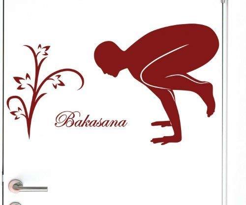 Türaufkleber Bakasana Yoga Sport Joga Figur Sticker Schriftzug Aufkleber 5G057, Farbe:Weiß Matt;Breite vom Motiv:50cm