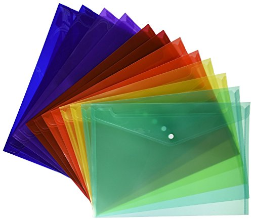 Lightahead LA-7550 (24 PIECES PACK) Clear document folder with snap button closure Premium Quality Poly Envelope, US LETTER / A4 size, in 6 assorted Colors, Blue, Green, Orange, Yellow, Purple, Maroon