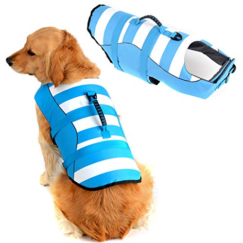 Fragralley High Visibility Dog Life Jacket Safety Vests for Swimming Superior Buoyancy amp Rescue Handle XS Chest Girth: 13quot142quot Coral Blue