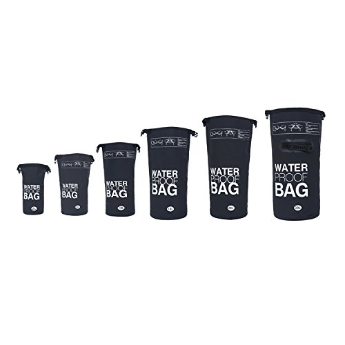 DonDon Borsa Dry Bag Drybag Impermeabile di Alta qualità Porta Attrezzature per i Tuoi Oggetti Regolabile per Canoa, Canottaggio, Rafting, Pesca, Nuoto, Campeggio e Escursionismo Nero 5 Litri