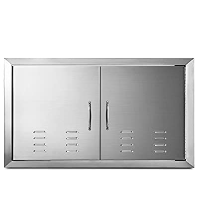 "Mophorn Outdoor Kitchen Access 36"" x 21"" Wall Construction Stainless Steel Flush Mount for BBQ Island, 36inch x 21inch, Double Door with Vents"