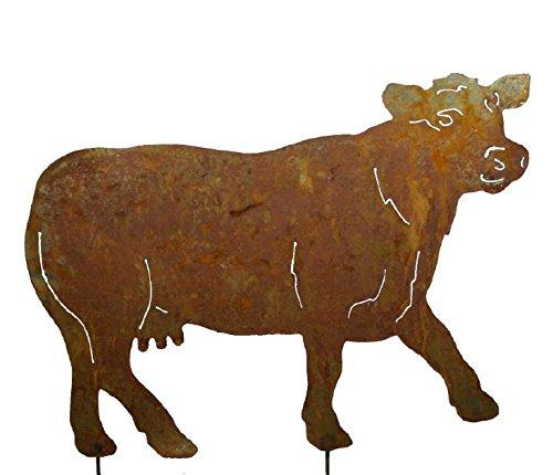RDI Kuh Gartenstecker Edelrost, Rostiges Metall, Gartenfigur, Metall Figur, Gartendeko