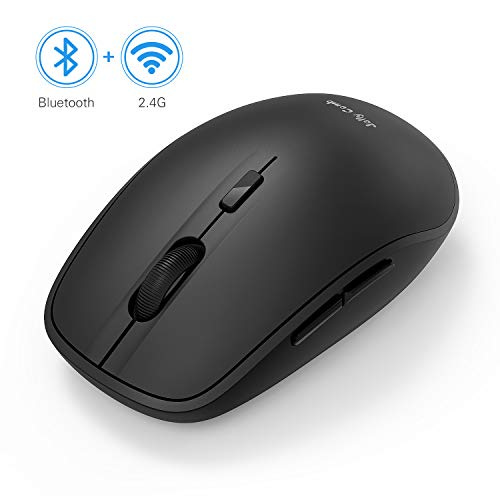 Wireless Bluetooth Mouse, Jelly Comb Dual Mode Bluetooth 4.0 Mouse 2.4G Wireless Portable Optical Mouse with Nano Receiver, 3 Adjustable DPI Levels for PC, Laptop, Windows, Android, OS System