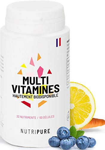Multivitamines et Minéraux 22 Nutriments Biodisponible • Vitamines A, B, C, D3, E, Zinc • Antioxydant, Cardiovasculaire, Cognitif et Vision • 60 gélules • Made in France • Haute Absorption • Nutripure