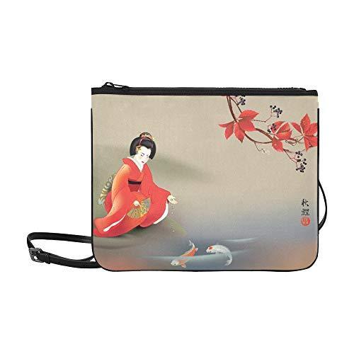 N\A Taschen für Mädchen Mode Japanische Geisha Fütterung Heilige Koi Karpfen Im Herbst Verstellbarer Schultergurt Mode Lady Tasche Für Frauen Mädchen Damen Umhängetasche Tägliche Umhängetasche