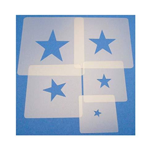 Schablonen Set ● 5 einzelne Sterne ● 1 cm, 2cm, 3cm, 4cm, 5cm groß