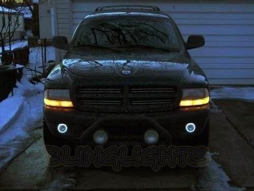 White Halo Angel Eye Fog Lamps Driving lights Kit Compatible With 1997-2011 Dodge Dakota