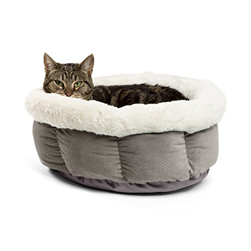 Best Friends by Sheri Cuddle Cup Ilan Cozy Microfiber Cat and Dog Bed in Grey