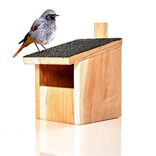 Skojig© Nistkasten für Nischenbrüter aus Naturholz : wetterbeständige Nisthilfe | Brutkasten fertig montiert aus unbehandelten Massiv-Holz - Nisthilfe für Halbhöhlenbrüter : Vogelhaus Nest