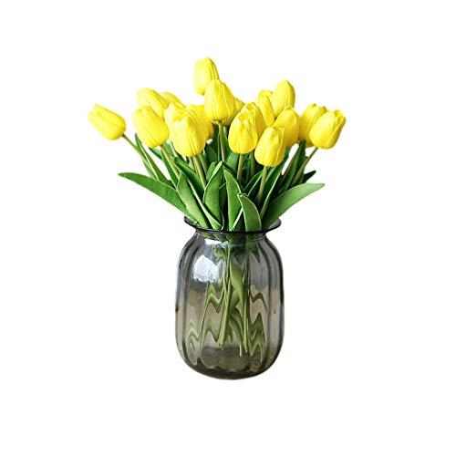VOSAREA Ramo de Tulipanes Artificiales, 30 Unidades, Color Amarillo, Seda sintética, Amarillo, Medium