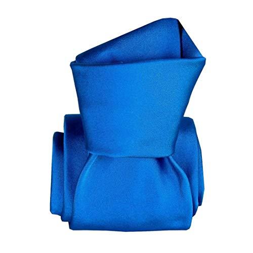Segni et Disegni. Cravate classique. Satin, Soie. Bleu, Uni. Fabriqué en Italie.