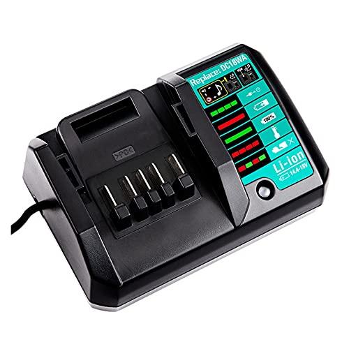 HANLILI kasu Ajuste para Makita 14. 4V-18V Cargador de batería de Iones de Litio DC18WA Herramienta de Poder Recargable 10 0V-240V Cargador de batería de Litio BL1815G BL1413G (Socket Standard : EU)