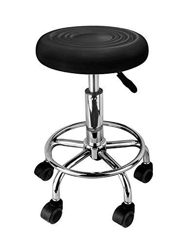 LOVECRAZY Tabouret pivotant avec roulettes pour coiffure, cosmétique, dentiste, chaise de travail professionnelle rotative avec roues (Noir 2)