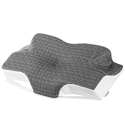 Elviros Memory Foam Cervical Pillow, Ergonomic Contour Pillow for Neck and Shoulder Pain Relief, Orthopedic Sleeping Bed Pillows for Side Sleepers, Back and Stomach Sleepers (Dark Grey)