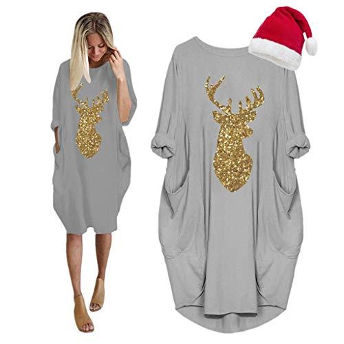 LOPILY Weihnachtskleid Damen Große Größen Pailletten Glitzer Weihnachten Jumperkleid mit Rentier Gedruckt Goldene Weihnachten Sweatkleider Damen Xmas Ausgestellte Minikleid Christmas (Grau, 38)