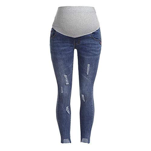 luoluoluo Leggings Premaman,Jeans Premaman Basico, Super Elastico e Comodo, vestibilità Skinny, Lavaggio Basic - Pantaloni Premaman (blu2, M)