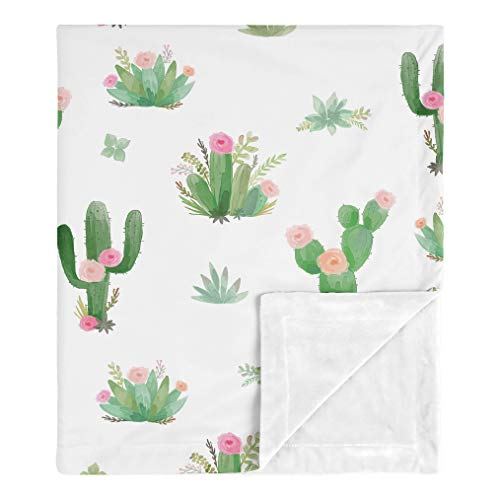 Sweet Jojo Designs Boho Watercolor Cactus Floral Baby Girl Receiving Security Swaddle Blanket for Newborn or Toddler Nursery Car Seat Stroller Soft Minky - Pink and Green