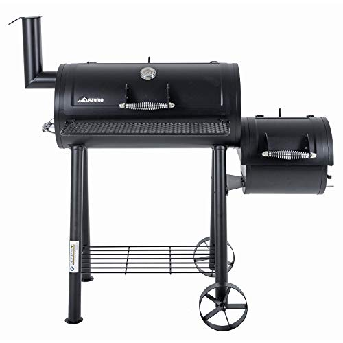 Azuma Bandit Barrel BBQ Charcoal Grill Wood Smoker Firebox Black Steel Portable Barbecue