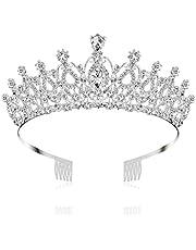 Tiara de cristal corona de diamantes de imitación de plata diadema peine boda novia accesorios para el cabello joyería para mujeres niñas