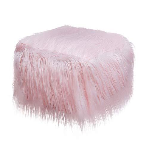 Meiju Lange Plüsch Platz Aufblasbarer Hocker Sofa Home Dekoration Tragbarer Stuhl Air gefüllt Komfort Sitz ideal als Fußhocker und tragen Sie Schuhe Hocker Fußhocker (50cm x 35cm,Rosa)