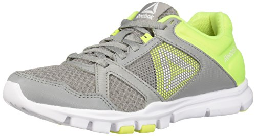 Reebok Yourflex Trainette 10 MT - Zapatillas deportivas para mujer, gris (gris/amarillo/blanco (tin grey/solar yellow/white)), 35 EU