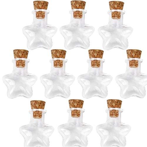 DierCosy Pequeña Botella de Cristal vacía de Tiny tarros de Cristal con el Corcho de Botellas Boda del tapón de Vacaciones Mini de Envases 10Pcs