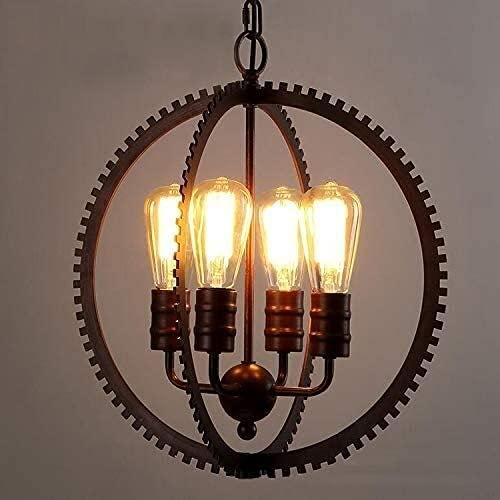 WXUGZ Industrial Vintage Colgante de Metal Negro araña de 4 Luces de iluminación con Forma de Engranaje para el Comedor de la Sala de Estar de la Barra