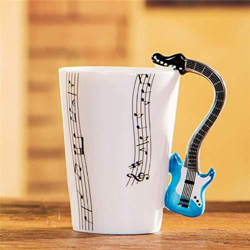 WYYHYPY Taza de Guitarra eléctrica de cerámica de la Copa Musical Taza de la Leche de Leche nórdica Copa del Instrumento Musical, Guitarra Azul de Cinco líneas, 201-300ml Tazas